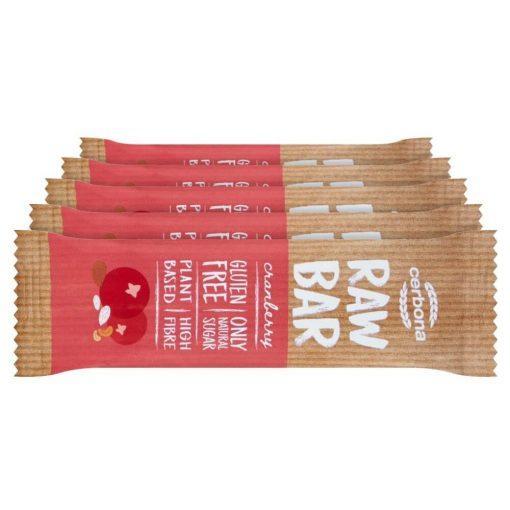 Cerbona RAW Bar Vörösáfonyás Gyümölcsszelet Kesudióval és Mandulával - Tízórai csomag / 5 x 30 g