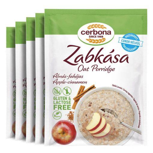 Cerbona glutén- és laktózmentes almás-fahéjas zabkása hozzáadott cukor nélkül - Tízórai csomag / 5 x 50 g