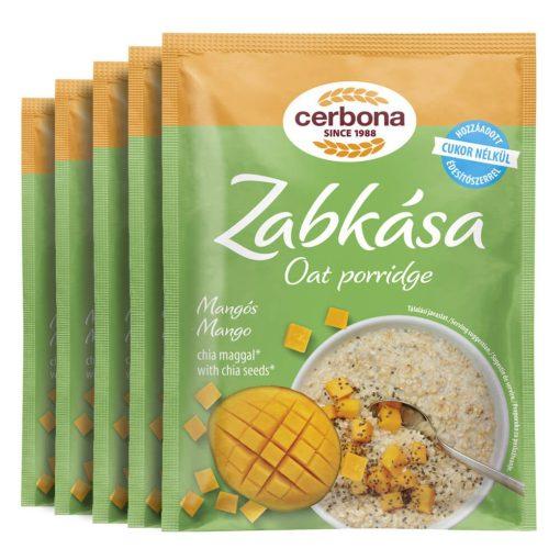 Cerbona Mangós zabkása, hozzáadott cukor nélkül, édesítőszerrel - Tízórai csomag / 5 x 50 g