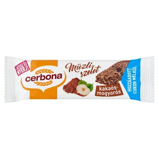 Cerbona Kakaós-mogyorós müzliszelet Cukor hozzáadása nékül édesítőszerrel 20 g