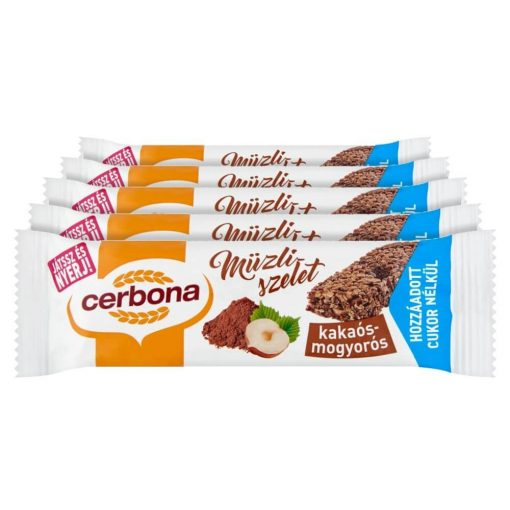 Cerbona Kakaós-mogyorós müzliszelet Cukor hozzáadása nékül édesítőszerrel - Tízórai csomag / 5 x 20 g