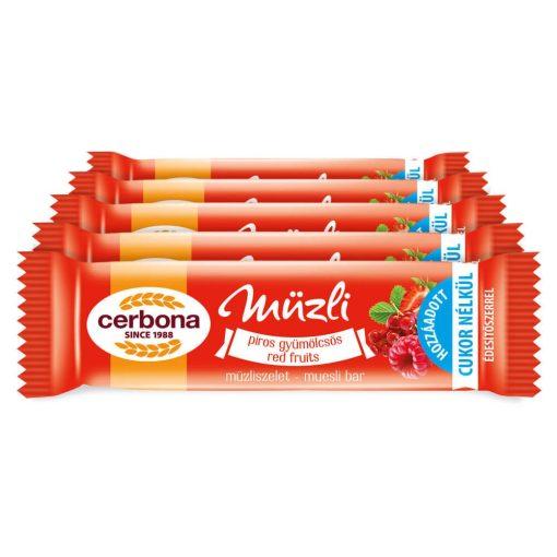 Cerbona Piros-gyümölcsös müzliszelet - Tízórai csomag / 5 x 20 g