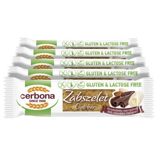 Cerbona glutén- és laktózmentes zabszelet étcsokoládés-marcipános - Tízórai csomag / 5 x 40 g