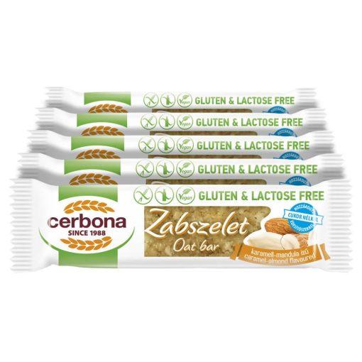 Cerbona glutén- és laktózmentes zabszelet karamell-mandulás, édesítőszerrel - Tízórai csomag / 5 x 40 g