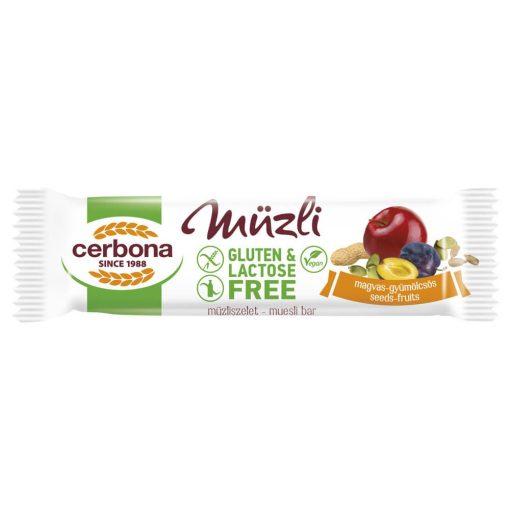 Cerbona Big glutén- és laktózmentes magvas-gyümölcsös müzliszelet 35 g