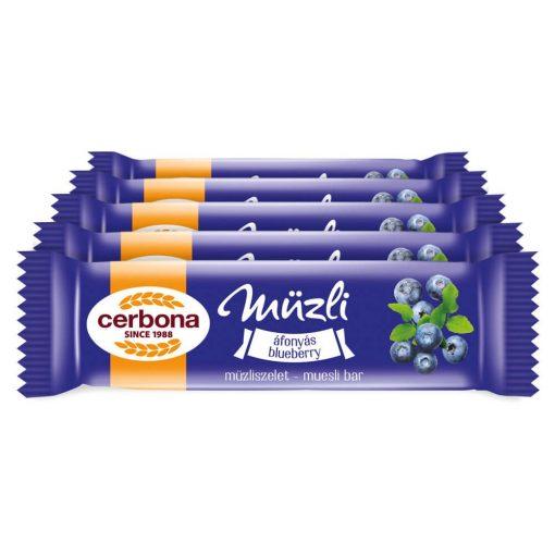 Cerbona Áfonyás müzliszelet joghurtos bevonóval - Tízórai csomag / 5 x 20 g