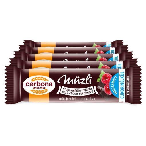 Cerbona Étcsokoládés-málnás müzliszelet - Tízórai csomag / 5 x 20 g