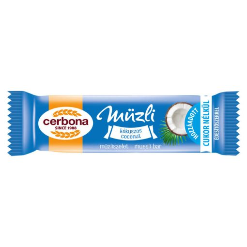 Cerbona Kókuszos müzliszelet Kakaós tejbevonóval édesítőszerrel 20 g