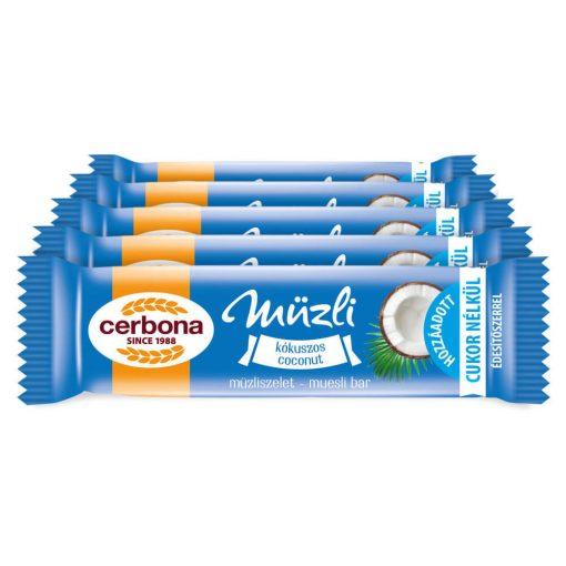 Cerbona Kókuszos müzliszelet Kakaós tejbevonóval édesítőszerrel - Tízórai csomag / 5 x 20 g