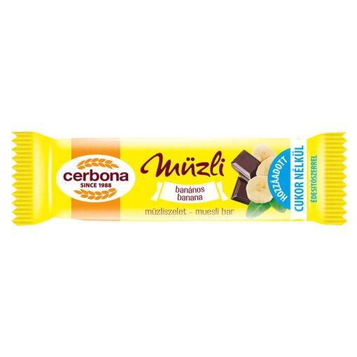 Cerbona Banános müzliszelet Kakaós bevonóval és Édesítőszerrel 20 g