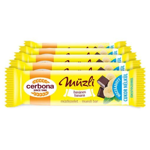 Cerbona Banános müzliszelet Kakaós bevonóval és Édesítőszerrel - Tízórai csomag / 5 x 20 g