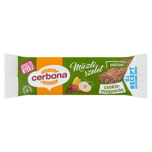 Cerbona Csokoládés-mogyorós müzliszelet Kakaós bevonó talppal 20 g