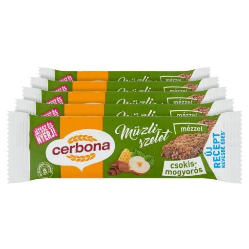 Cerbona Csokoládés-mogyorós müzliszelet Kakaós bevonó talppal - Tízórai csomag / 5 x 20 g