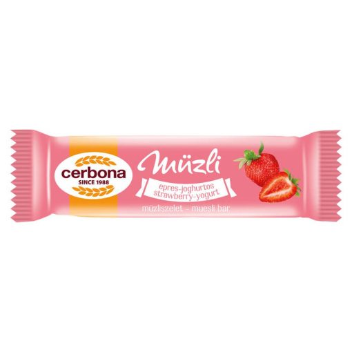 Cerbona Epres-joghurtos müzliszelet Epres bevonó talppal, Édesítőszerrel 20 g