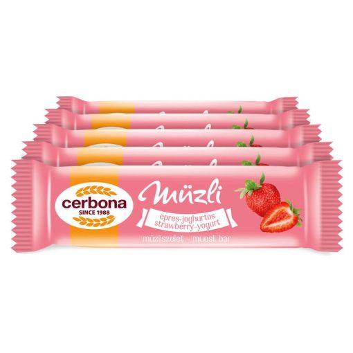 Cerbona Epres-joghurtos müzliszelet Epres bevonó talppal, Édesítőszerrel - Tízórai csomag / 5 x 20 g