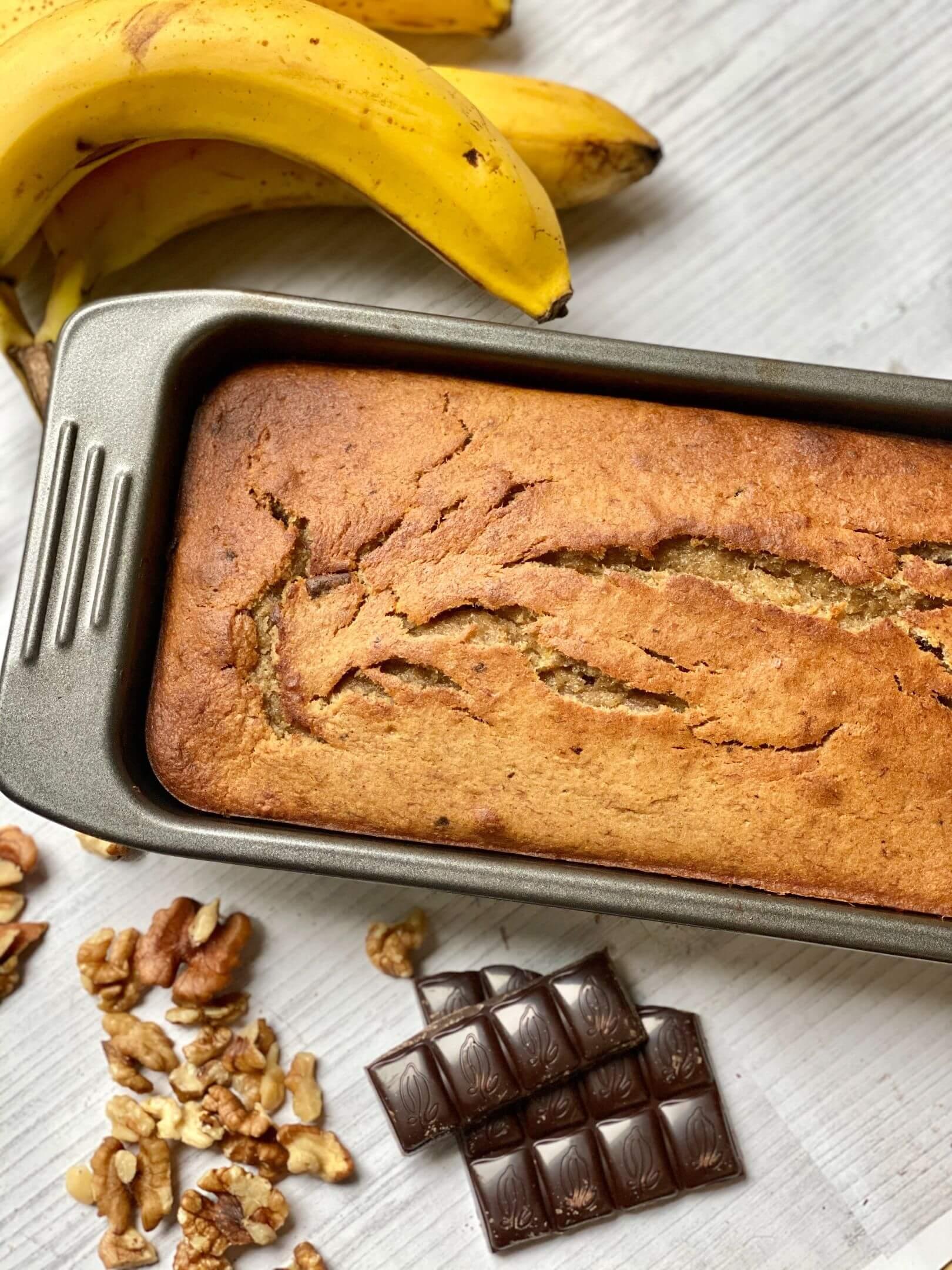 Csokis-Diós Banánkenyér Zabpehelylisztből